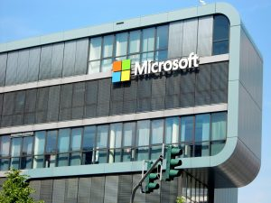 Microsoft building with signage